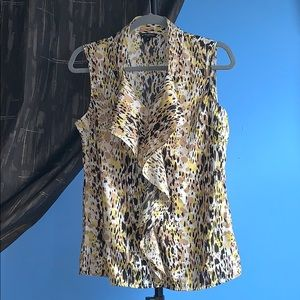 Banana Republic Sleeveless Blouse Ruffled Leopard